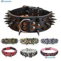 """Collar de perro grande de cuero de la PU de 2 """"de alta calidad con espigas negras afiladas tachonadas para perros grandes PET JLLPRW MX_HOME"""