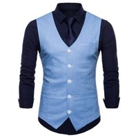 2020 Autumn New Style Men Solid Color Single-Breasted Casual Vest Candy-Colored Suit Waistcoat Large Size Coat