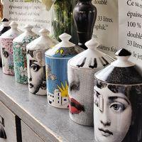 Lady visage jar bricolage vidange bouge de chandelle beauté pansement brosse boîte avec couvercle en céramique étain fleur et bouteille