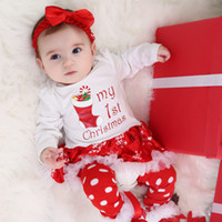 INS Christmas Baby Costumes Clothes Infant Toddler Girls First Christmas Outfits Newborn Christmas Romper clothing Set birthday gift