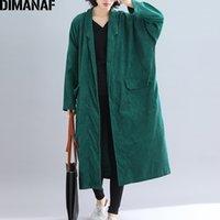 Dimanaf Женские куртки плюс размер длинные пальто CORDUROY осень зима большой размер кардиган женская одежда свободная негабаритная верхняя одежда 2021 201127