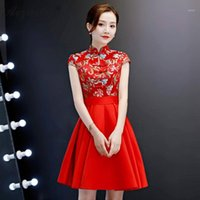 Robe Satin Rouge Rouge Satin Cheongsam Modern Modern Chinoise Robes de soirée Qi Pao Femmes Traditionnelle Chinoise Vêtements Mode Short Qipao1