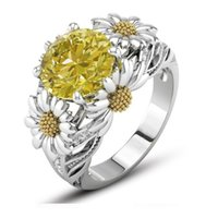Sonnenblume Ring Farbe Zirkon vergoldet Edelstein Kristall Ring High End Schmuck Europäische amerikanische Mode Frauen Geschenk Großhandel 2farben 46 j2