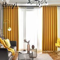 Cortina do blackout sólido amarelo para a cortina de luxo da sala de visitas para a cortina do quarto para o tratamento da janela cortinas terminadas cortinas lj201224
