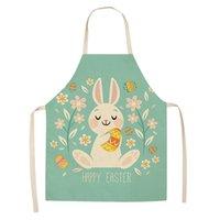 Dia dos desenhos animados avental de desenhos animados coelho impresso cozinha Easter aventais para as mulheres crianças sem mangas de algodão de linho cozinhar ferramentas de limpeza ffd4286