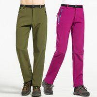 Calças ao ar livre outono inverno caminhadas esportes caminhando acampamento à prova d 'água quente e lã elástica cintura calças para mulheres homens 3xl