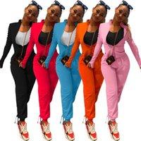 Echoine Женщины Осенняя Твердая Активная одежда Установите толстовки на молнию Штабенные штаны Двухструктура набор Sporty Party Cousssuit Фитнес-наряды