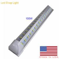 Luz de loja LED, 8FT, luminária de tubo T8 integrada T8, 4 fila 144W 14400LM, 6000k-6500k branco, luz de tubo de diodo em branco