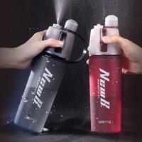 Nangufang / tritan 600ml Распылитель пластиковые водяные бутылки прохладный летний спортивный фитнес чайник портативный путешествие открытый увлажняющий чайник 201128