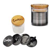Moedor de cookies com recipiente de vidro Metal Metal Moedores 40 * 50mm 4 peças Camadas Crusher de especiarias 65 * 55mm frascos selados garrafa de armazenamento