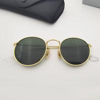 여성 남자 선글라스 클래식 완전히 완전히 복고풍 스타일 디자인 모양 라운드 프레임 소재 금속 유리 렌즈 G-15 Gafas de sol Dediseñaor 포함