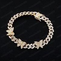 Reizend Frauen Fußkettchen Gold überzogenes CZ gefror heraus Schmetterlings-Kette für Frauen Hip Hop Bling Fußkettchen Armbänder Schmuck für Partei-Hochzeit heißes Geschenk