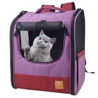개 자동차 시트 커버 고양이 캐리어 배낭 작은 고양이 강아지 강아지 지원 여행 하이킹 야외 사용을위한 양면 진입 캐리어