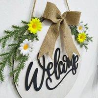 عيد الفصح إكليل أسود أبيض اللثة يدويا السنة الجديدة عطلة اكرال باب الجدار جارلاند زينة عيد الميلاد للمنزل مزرعة HHD4733