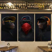 3 Paneller Komik Hayvan Yağlıboya Tuval Üzerine Pop Art 3 Bilge Kuşluk Posterler Baskılar Modüler Duvar Sanatı Resim Oturma Odası Ev Dekor Için