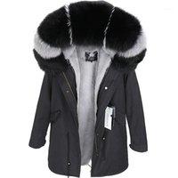 Маомаоконг Новый в 2018 году натуральный реальный меховой воротник пальто женский зимний куртка пальто толстая подкладка Украина1
