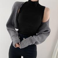 Pullover mit Stehkragen ärmelStrickHemd Kurz Shrug 2ST Damen Pullover Herbst Winter 2021 Fashion