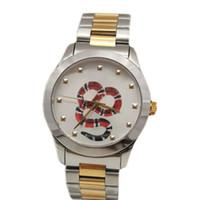 Montre de luxe роскошные наручные часы змея пчела пару часы 38 мм 28 мм серебряный чехол мужские женские дизайнер часы кварцевые часы модные наручные часы