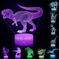 Dinosaurier-Serie 16 Farbe 3D LED-Nachtlicht Lampe Fernbedienung Tischlampen Spielzeug-Geschenk für Kind-Hauptdekoration 3D-Nachtlicht