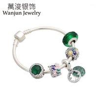 Charme Armbänder Wanjun Schmuck 100% 925 Sterling Silber Stil Grüne Glücksklee Kette Charms Anhänger Armreifen Perlen Set Geschenk1
