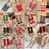 Weihnachtssocken Elch Weihnachtsmann Knit Frauen Thick Sherpa Fleece-Futter Thermal Fuzzy Slipper 3D Tier Socken mit Greifern