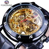 Forsining Flower Design Retro Classic Black Golden Watch Genuine Leather Band Relojes automáticos mecánicos para hombres resistentes al agua