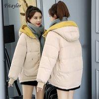 Fitaylor Зимняя куртка женщин плюс размер 3XL пальто хлопка сгущает Короткие ветровки с капюшоном Outwear Женский Теплый снег Шинель 201014