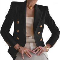 السيدات أزياء ربيع الخريف نحيل دعوى لون نقي الأعمال عارضة دعوى قصيرة سترة النساء أبلى أعلى مزدوجة الصدر 1