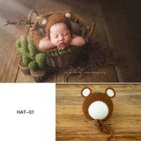 Gorras Sombreros Nacidos / 100 días PoGraps Props Baby Animal Ciervo Cat Bear Hat Hecho A Mano Hecho Punto Estudio Home Shooting Accesorios