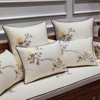 Chinesa Bordados Almofada Flor Tampa Birds Luxo Almofadas Almofadas Cojines Decorativos Para Sofá Noble Mulheres Para Casa Decor