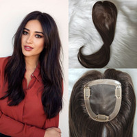 10x11cm Toppers de cabelo virgem # 2 cor marrom escuro tpeee de cabelo humano para as mulheres slik clipe reto no topper para cabelo desbaste