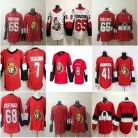 8 Tim Stutuzle Ottawa Senatoratori 7 Brady Tkachuk Hockey Jersey 65 Karlsson 41 Craig Anderson 68 Mike Hoffman 100th classico rosso cucito rosso