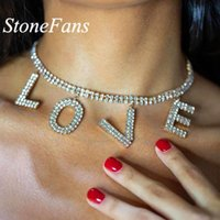 Stonefans Wholesale Jewelry Letter Necklace Women Gold Silver Color Fashion LOVE New Rhinestone Crystal Pendant Choker Necklaces