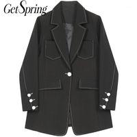 Frauenanzüge Blazer Getspringt Frauen Blazer Vintage Mode Aprikosen Schwarz Jacken Womens Langarm Casual Anzug Mäntel Frau Kleidung1