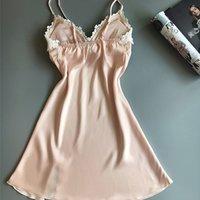 GUMPRUN Frauen Seiden Satin Nachthemd Sleeveless Nachthemd V-Ausschnitt Sommer Lace Sexy Sleepwear Gemütliche Sling Dessous Y200425