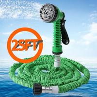 Großhandel-7 in 1 Sprühpistole Erweiterbarer Gartenschlauch Latexrohr Magie flexible Schlauch für Gartenauto Kunststoffschläuche 25ft blau grün orange1
