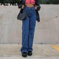 Allneon 90S Streetwear Argyle Plide Beaggy Jeans Y2K Eestheatics Высокая талия Синие Джинсовые брюки Винтажные инди-брюки