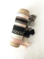 Bracelete de jóias de luxo quente para mulheres algodão tecido letra assinatura bordado pulseira tecida pulseira borla lace-up empilhando presente de charme