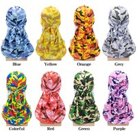 Fashion Pirate Sombrero Olas Olas Rags Camo Hombre Silky Durags Turban Imprimir Unisex Seda Durag Headwear BANDES DIEADA ACCESORIOS DE PELO 30PCS
