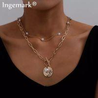Collar Gargantilla gótico barroco perla de la moneda colgante para las mujeres punk boda del grano del lazo del color oro con cadena larga del collar de la joyería regalo