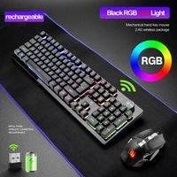 Teclado recarga Wireless Gaming Mecânica Sentindo Teclados RGB retroiluminado 2.4G rato sem fios 2400dpi Pc Gamer Teclado Punk