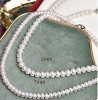 prezzo basso di alta qualità collana di 7 millimetri perla naturale up-market della signora. L 42 centimetri. totale L 45 centimetri.