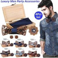 4шт ручной деревянный бабочный галстук для ночного платка набор мужской бабочка дерева полые резные резные и коробка бабочка галстука бантики галстуки для мужчин Homme