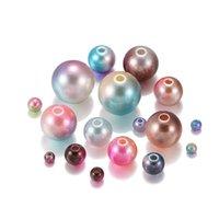 Tamaño múltiple mezclado 3 12 mm Agujero recto Acrílico Pearl Rainbow Color Plástico ABS Beads DIY para joyería haciendo accesorios H JLLLJJK