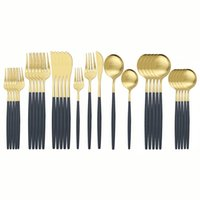 30 unids Matte Black Gold Weatware Set 304 Setwware Setways Set de acero inoxidable Conjunto de cubiertos Western Cuchillo Cuchara Cutlery 201128