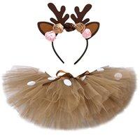 Costume Fluffy Brown Deer tutu gonna di Natale Bambini Renna pannello esterno di Tulle per Halloween Carnevale dei bambini Outfit 1-14 anni