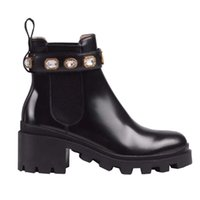 Donne Martin Boots Nero Real Leather Pelle 6cm Chunky Heel Inverny Stivaletti Stivaletti Designer di lusso Strass Bottines Femmes