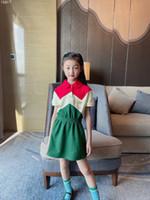 جودة عالية طفل الفتيات اللباس 2021 الصيف 100٪ القطن البولو فساتين أطفال فتاة قصيرة الأكمام اللباس ملابس الأطفال شحن مجاني
