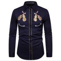 2020 Мужская Western Cowboy Violin вышивки рубашки вскользь кнопки вниз рубашки Slim Fit Длинные рукава рубашки партии Личность