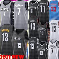 새로운 13 Harden Jersey Kevin 7 Durant Jersey 11 Kyrie Men 's Basketball Irving Jerseys 저렴한 판매 고품질 검은 흰색 회색